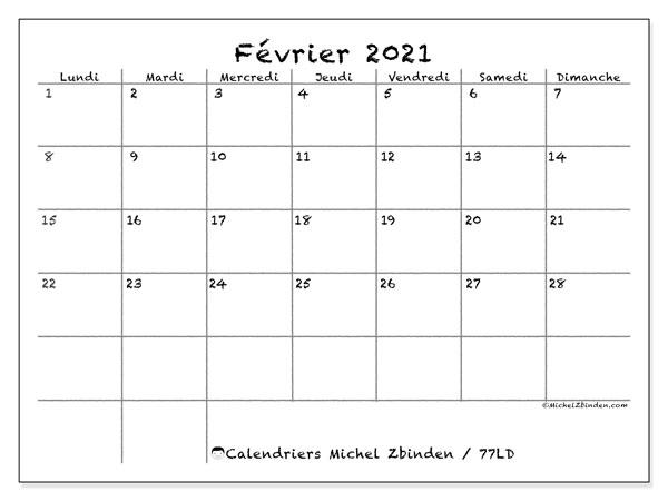 """Calendrier """"77LD"""" février 2021 à imprimer   Michel Zbinden FR"""