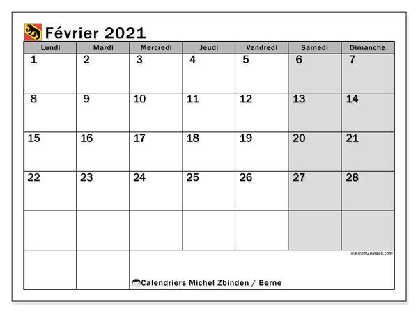 Calendrier février 2021, avec les jours fériés du Canton de Berne. Calendrier à imprimer gratuit avec jours fériés.