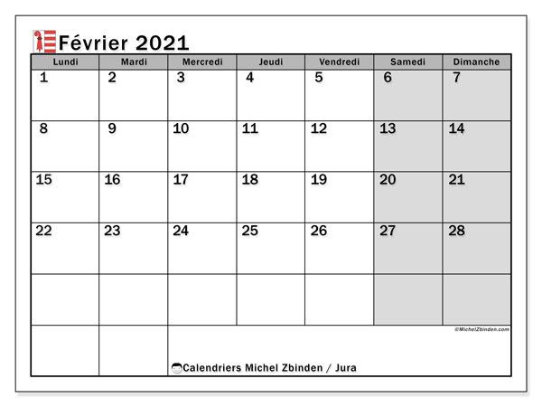 Calendrier février 2021, avec les jours fériés du Canton du Jura. Calendrier à imprimer gratuit avec jours fériés.