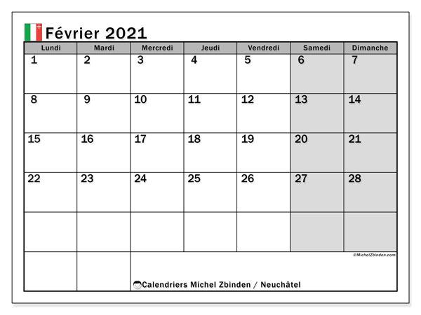 Calendrier février 2021, avec les jours fériés du Canton de Neuchâtel. Calendrier à imprimer gratuit avec jours fériés.
