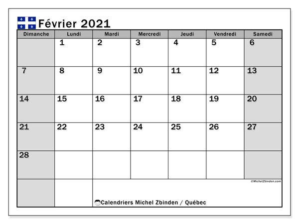 """Calendrier Février 2021 à Imprimer Gratuit Calendrier """"Québec"""" février 2021 à imprimer   Michel Zbinden FR"""