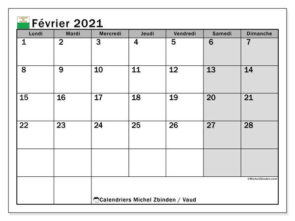 Calendrier février 2021, avec les jours fériés du Canton de Vaud. Calendrier à imprimer gratuit avec jours fériés.