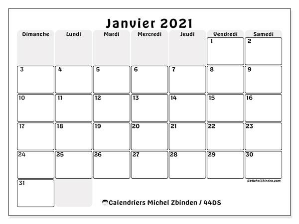 Calendrier janvier 2021, 44DS. Planificateur à imprimer gratuit.