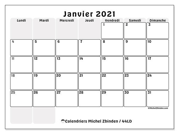 Calendriers janvier 2021, 44