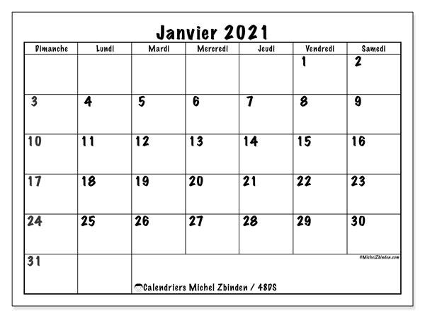"""Janvier Calendrier 2021 Calendrier """"48DS"""" janvier 2021 à imprimer   Michel Zbinden FR"""
