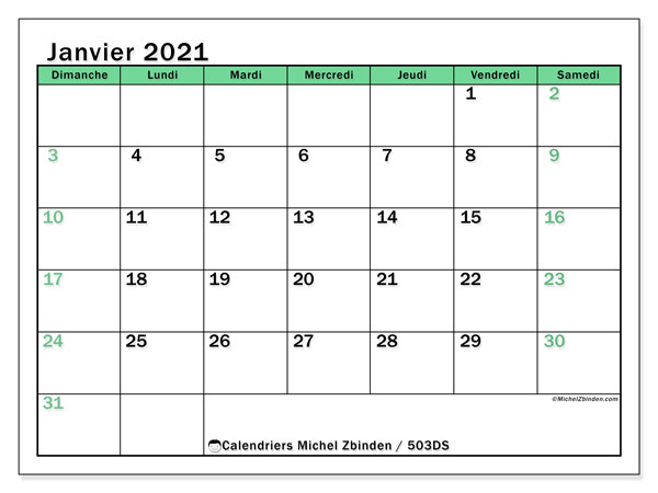 "Calendrier ""503DS"" janvier 2021 à imprimer   Michel Zbinden FR"