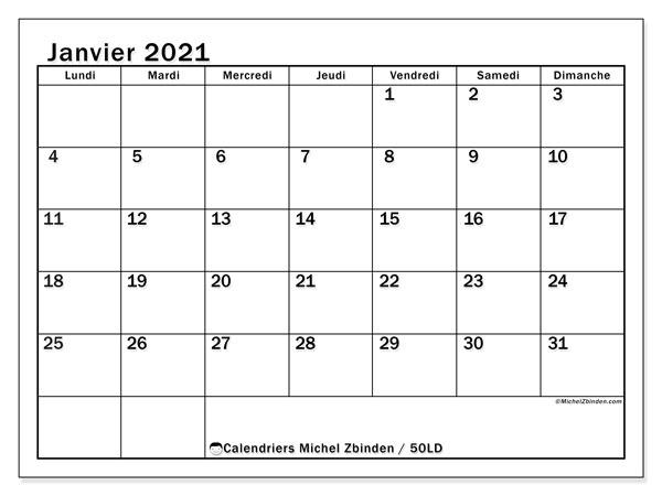 "Calendrier ""50LD"" janvier 2021 à imprimer   Michel Zbinden FR"