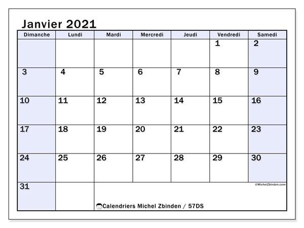 Calendrier janvier 2021, 57DS. Calendrier mensuel à imprimer gratuit.