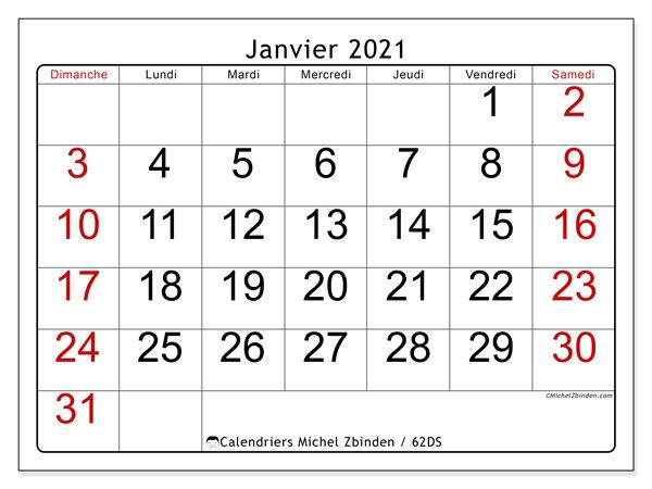 Calendrier janvier 2021, 62DS. Organisateur à imprimer gratuit.