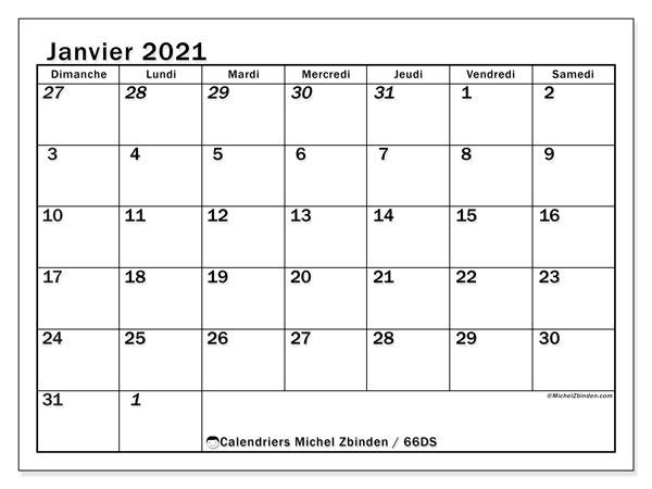 "Calendrier ""66DS"" janvier 2021 à imprimer   Michel Zbinden FR"