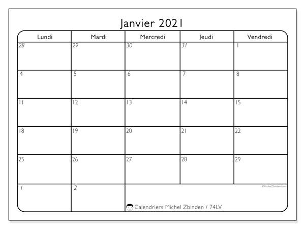 Calendrier janvier 2021, 74DS. Organisateur à imprimer gratuit.