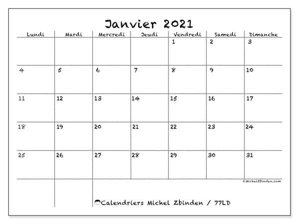 Calendriers janvier 2021, 77