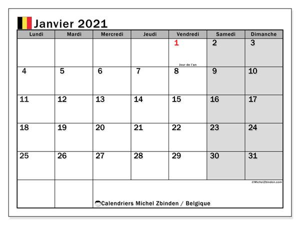 "Calendrier ""Belgique"" janvier 2021 à imprimer   Michel Zbinden FR"
