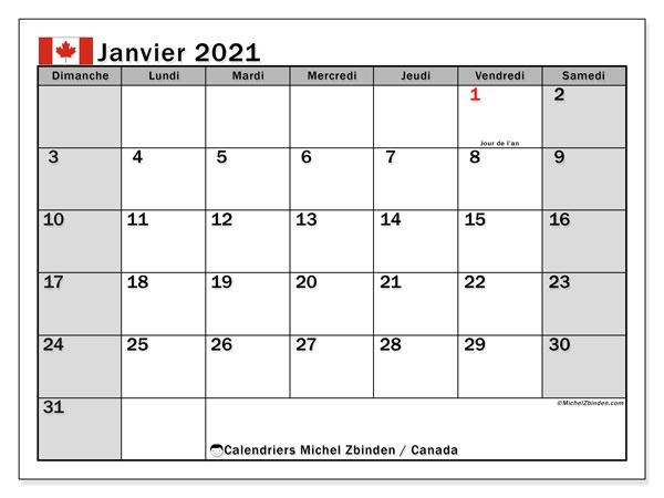 "Calendrier ""Canada"" janvier 2021 à imprimer   Michel Zbinden FR"