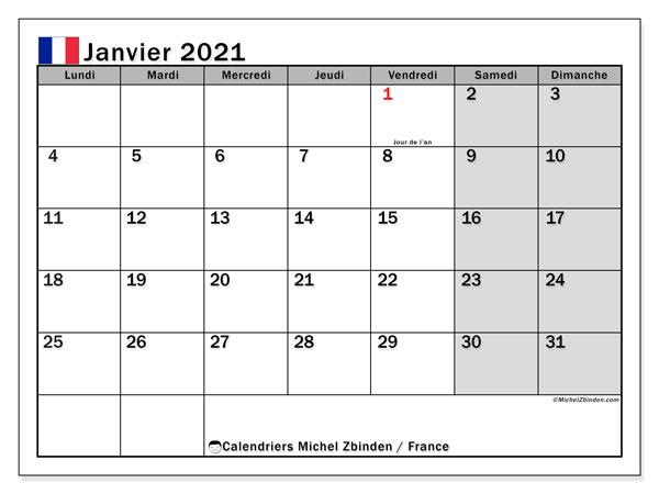 Calendrier janvier 2021, avec les jours fériés de la France. Calendrier à imprimer gratuit avec jours fériés.