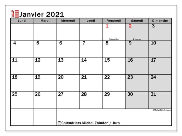 Calendrier janvier 2021, avec les jours fériés du Canton du Jura. Calendrier à imprimer gratuit avec jours fériés.