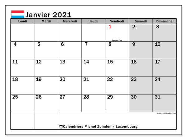 "Calendrier ""Luxembourg"" janvier 2021 à imprimer   Michel Zbinden FR"
