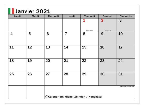 Calendrier janvier 2021, avec les jours fériés du Canton de Neuchâtel. Calendrier à imprimer gratuit avec jours fériés.