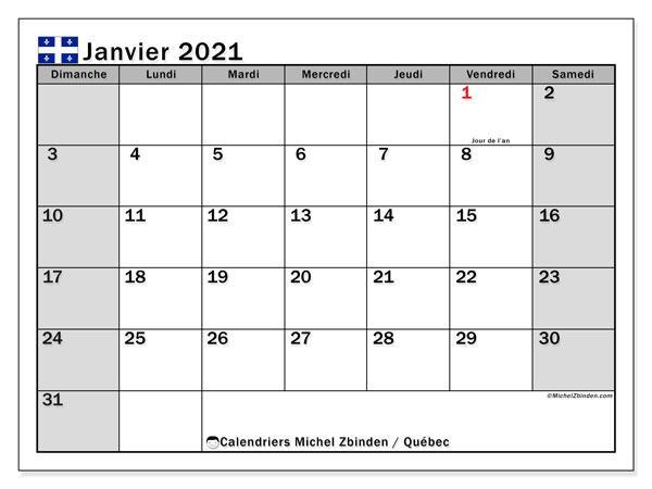 "Janvier Calendrier 2021 Calendrier ""Québec"" janvier 2021 à imprimer   Michel Zbinden FR"