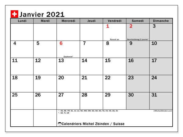 Calendrier janvier 2021, avec les jours fériés de la Suisse. Calendrier à imprimer gratuit avec jours fériés.