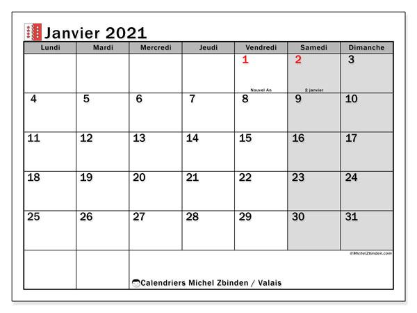 Calendrier janvier 2021, avec les jours fériés du Canton du Valais. Calendrier Fêtes et jours fériés à imprimer gratuit.