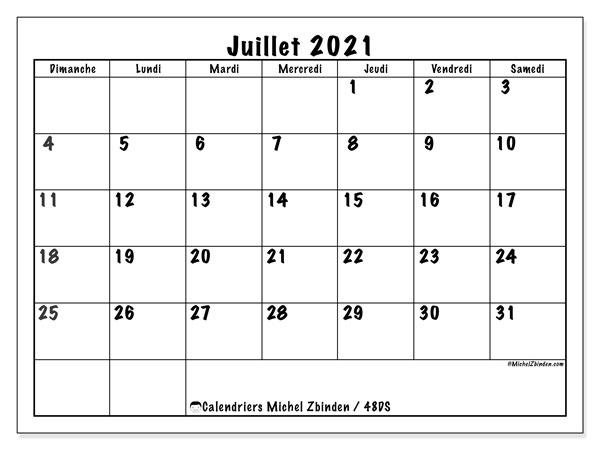 Calendrier juillet 2021, 48DS. Calendrier imprimable gratuit.