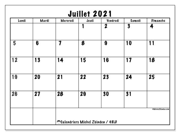"""Calendrier 2021 Juillet Calendrier """"48LD"""" juillet 2021 à imprimer   Michel Zbinden FR"""