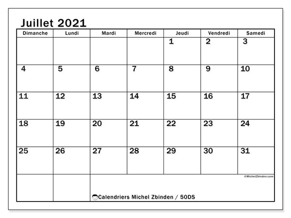 Calendrier juillet 2021, 50DS. Calendrier à imprimer gratuit.
