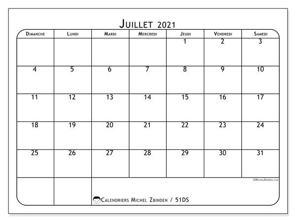 Calendrier juillet 2021, 51DS. Calendrier mensuel à imprimer gratuit.