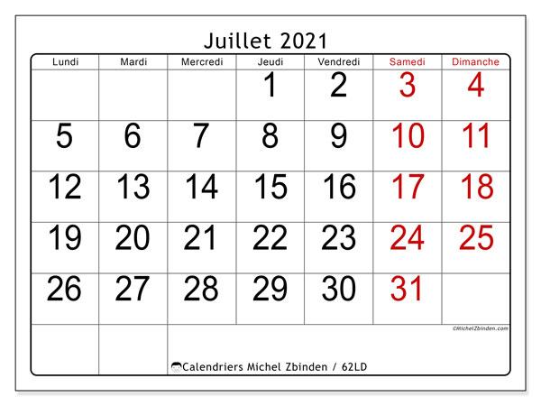 Calendrier juillet 2021, 62LD. Calendrier imprimable gratuit.