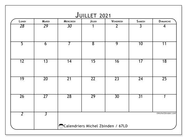Calendrier juillet 2021, 67LD. Calendrier gratuit à imprimer.