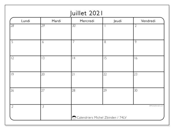 Calendrier juillet 2021, 74DS. Calendrier pour le mois à imprimer gratuit.