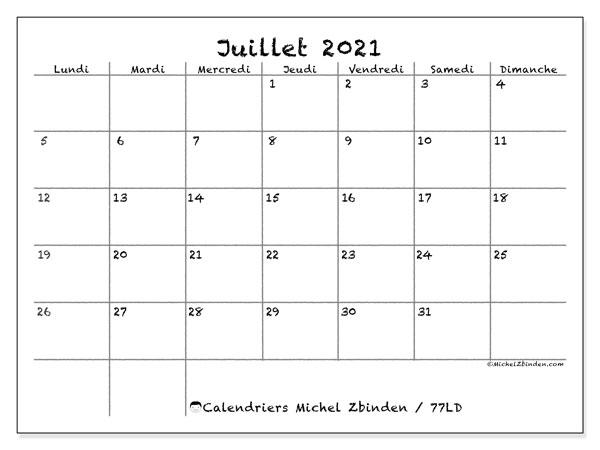 Calendrier juillet 2021, 77LD. Calendrier imprimable gratuit.