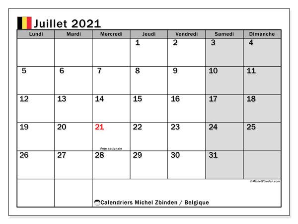 Calendrier juillet 2021, avec les jours fériés de la Belgique. Calendrier à imprimer gratuit avec jours fériés.