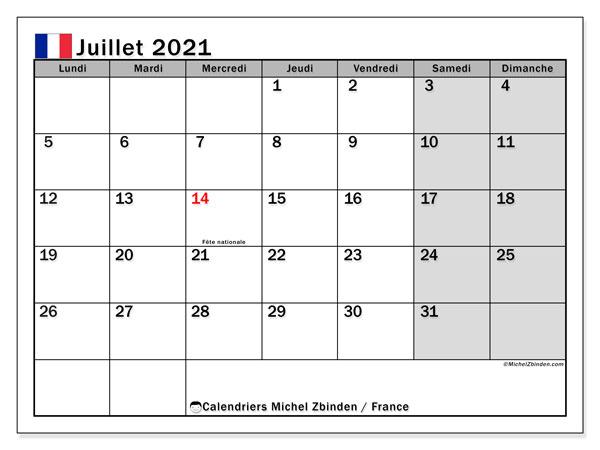 """Calendriers juillet 2021 """"Jours fériés""""   Michel Zbinden FR"""