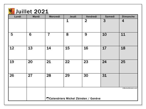 Calendrier juillet 2021, avec les jours fériés du Canton de Genève. Calendrier à imprimer gratuit avec jours fériés.