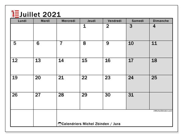 Calendrier juillet 2021, avec les jours fériés du Canton du Jura. Calendrier à imprimer gratuit avec jours fériés.