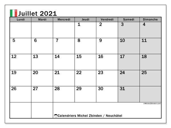 Calendrier juillet 2021, avec les jours fériés du Canton de Neuchâtel. Calendrier Fêtes et jours fériés à imprimer gratuit.