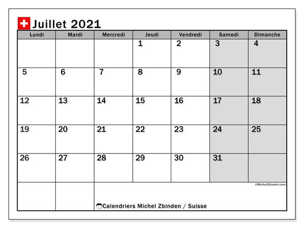 Calendrier juillet 2021, avec les jours fériés de la Suisse. Calendrier à imprimer gratuit avec jours fériés.
