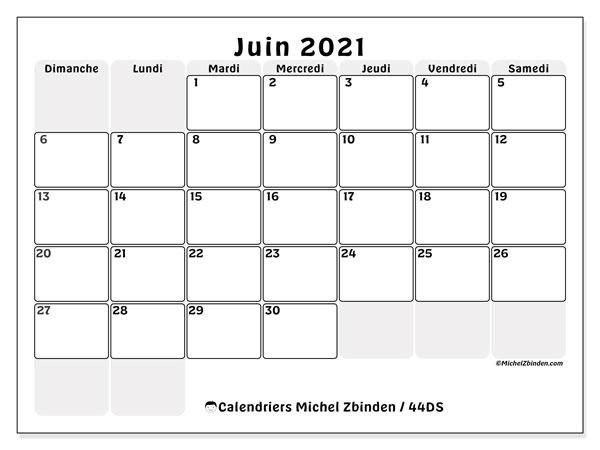 "Calendrier ""44DS"" juin 2021 à imprimer   Michel Zbinden FR"