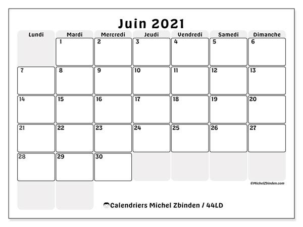 Calendrier juin 2021, 44LD. Organisateur à imprimer gratuit.