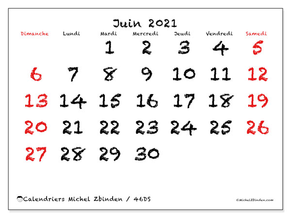 Calendrier juin 2021, 46DS. Planificateur à imprimer gratuit.