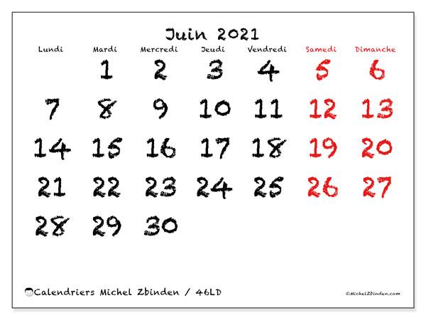 Calendrier juin 2021, 46LD. Planificateur à imprimer gratuit.