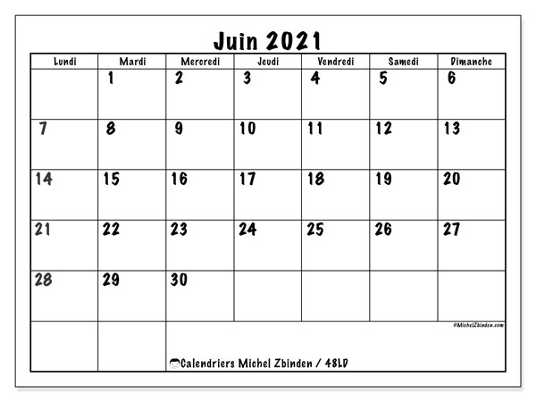 "Calendrier Juin 2021 A Imprimer Calendrier ""48LD"" juin 2021 à imprimer   Michel Zbinden FR"