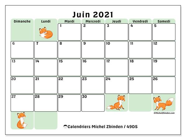 Calendrier juin 2021, 49DS. Calendrier gratuit à imprimer.