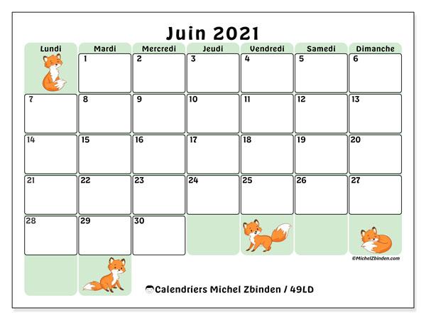 "Calendrier Mai Juin 2021 à Imprimer Calendrier ""49LD"" juin 2021 à imprimer   Michel Zbinden FR"