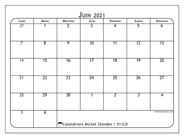 "Calendrier ""511LD"" juin 2021 à imprimer   Michel Zbinden FR"