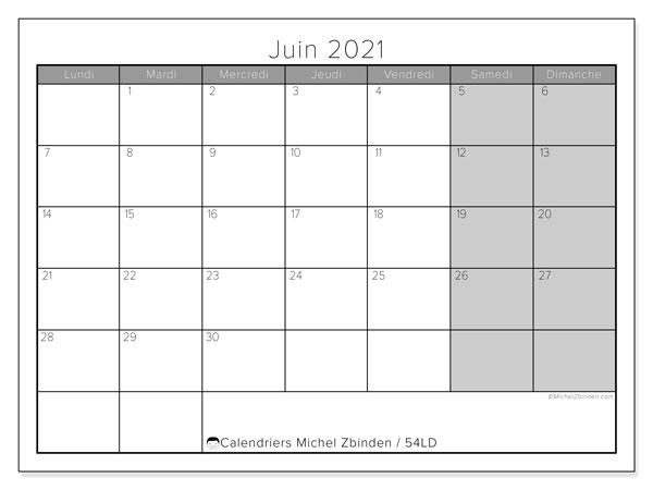 "Calendrier ""54LD"" juin 2021 à imprimer   Michel Zbinden FR"