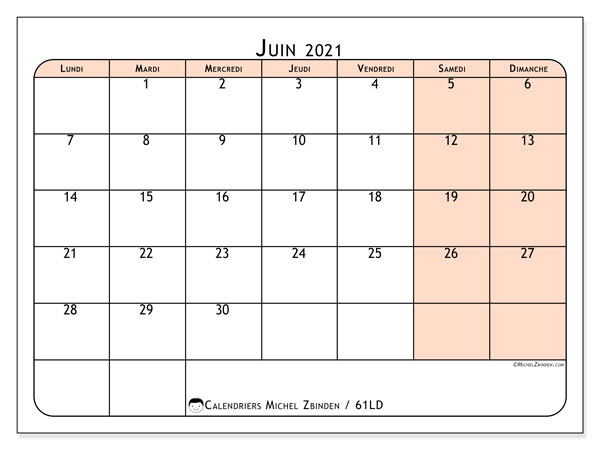 Calendrier juin 2021, 61LD. Calendrier mensuel à imprimer gratuit.