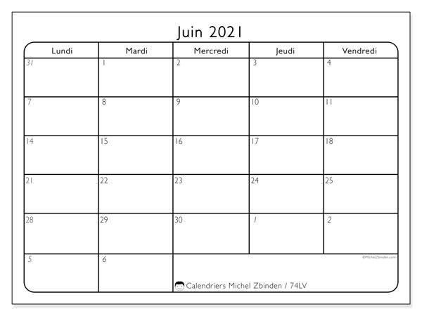 Calendrier juin 2021, 74LD. Organisateur à imprimer gratuit.